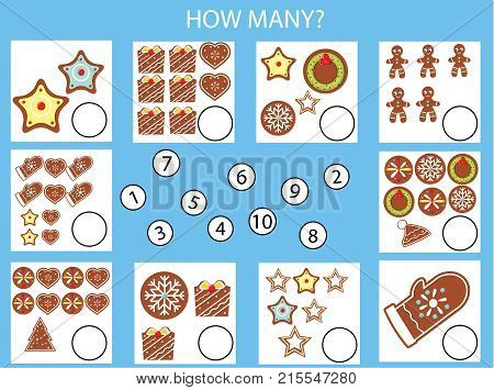 Counting educational children game kids activity worksheet. How many objects task. Christmas winter holidays theme. Learning mathematics numbers addition theme
