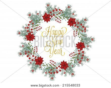 Christmas Wreath Hand Drawn Illustration For Greeting Cards Isolated On White
