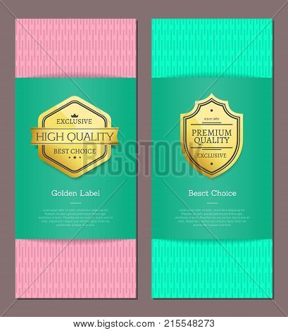 Golden label best choice premium quality exclusive brand high award set of posters with text on colorful backgrounds vector illustration banners