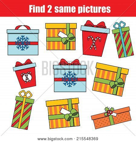 Find the same pictures children educational game. Find equal pairs of christmas gift boxes kids activity. New Year winter holidays theme.