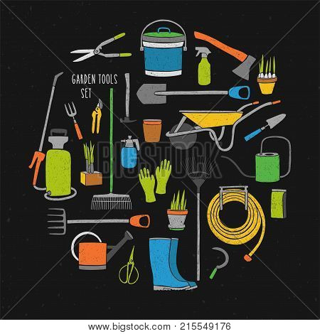 Bundle of hand drawn gardening tools arranged into circle. Collection of various colorful agricultural equipment for work in garden isolated on black background. Bright colored vector illustration