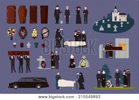 Funeral service and ceremony collection. Grieving people dressed in black mourning clothes, graves, coffins, funerary urns, hearse, cemetery, burial and cremation procedures. Vector illustration