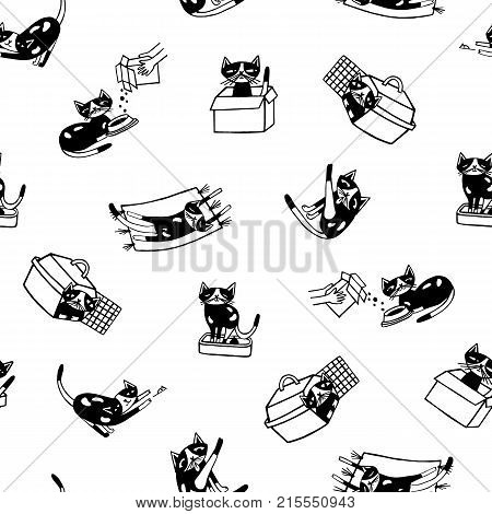 Seamless pattern with funny cat hand drawn in black and white colors. Monochrome backdrop with daily life of cute cartoon pet animal. Vector illustration for wallpaper, wrapping paper, textile print