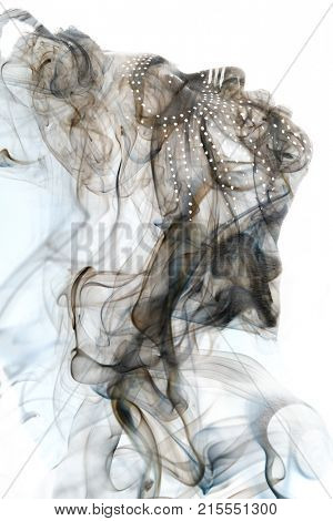 Double exposure blending of relaxed man seemingly drifting in thin air. Disappearing into empty space