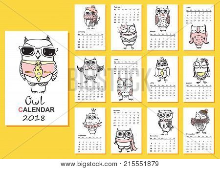 Calendar 2018. Cute owls and birds for every month. Vector. Isolated.
