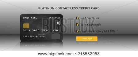 Credit card features vector illustration. Contactless bank credit card promotion creative concept. Plastic bank card with bonuses money cashback no annual fee graphic design.