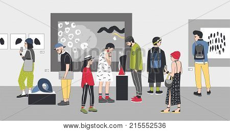 Thoughtful visitors of contemporary art gallery viewing exhibits. Pensive people dressed in stylish clothing looking at paintings and sculptures at exhibition. Colorful cartoon vector illustration
