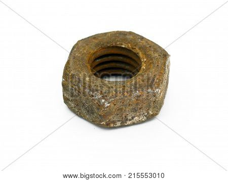 old corroded screw nut industry iron isolated macro metal object