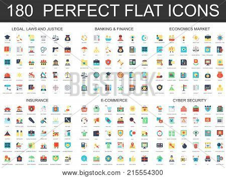 180 modern flat icon set of Legal law justice, banking finance, economics market, insurance, e commerce, cyber security icons