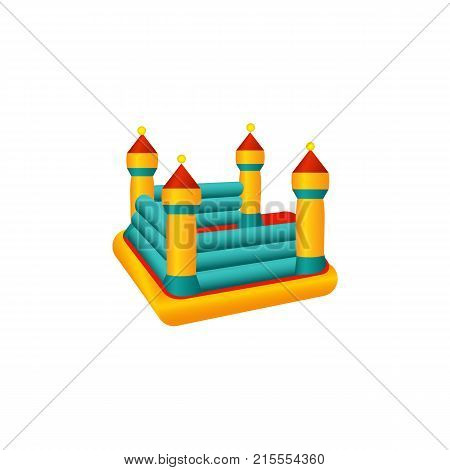vector flat amusement park concept. Children rubber inflatable playground bouncy castle trampoline with colored towers. Isolated illustration on a white background.