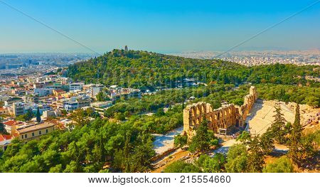 Panoramic view of Athens with the Theatre of Dionysus and the Hill of the Muses, Greece