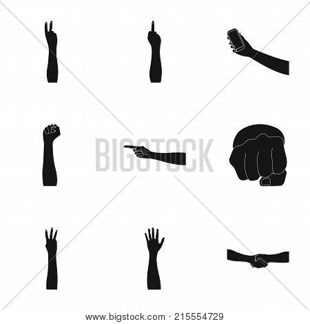 Significance of gestures black icons in set collection for design.The tongue of deaf mutes vector symbol stock illustration.