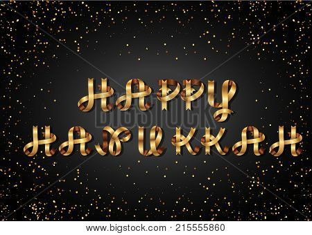 happy hannukah gold sign, on black background. Golden ribbon. Festive lettering, inscription. Greeting Card.