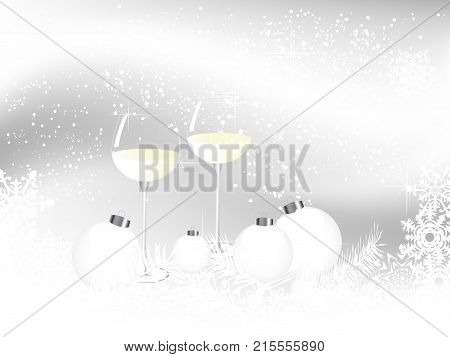 Two glasses of white wine on Christmas background