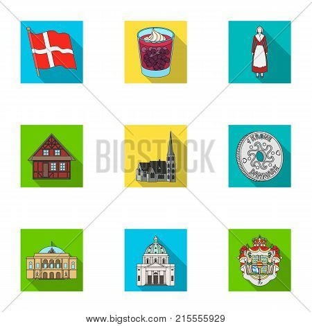Kopeck, money, crown, and other  icon in flat style.Attributes, country, Denmark icons in set collection