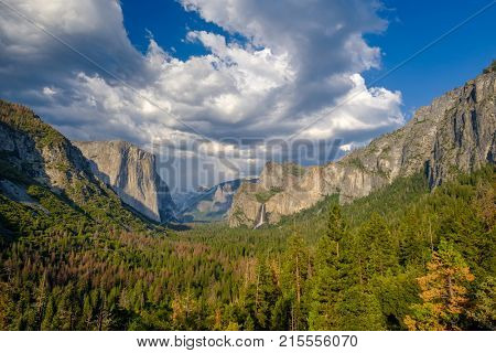 Yosemite National Park Valley summer landscape from Tunnel View. California, USA.