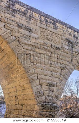 Clements Stone Arch Bridge detail, rural Kansas