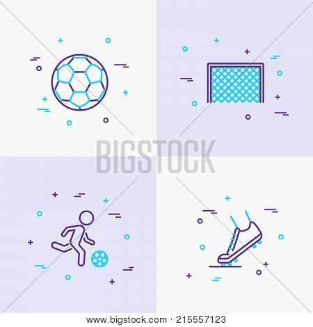 Football thin line icons set: ball, player, football boots, goal. Modern vector illustration.