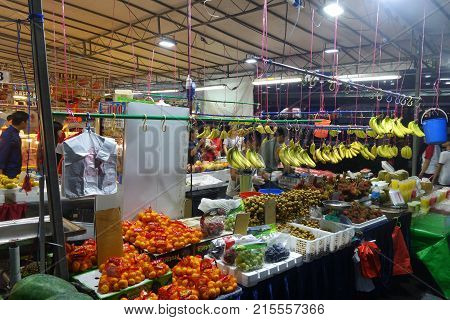 Fruits Stall In The Night Market In Singapore