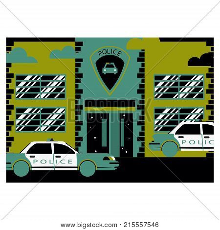 The police facade of the building. Police station and department. Police car. Flat design.