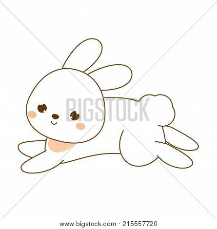 Cute rabbit. Kawaii Bunny. White hare jumping. Cartoon animal character for kids toddlers and babies fashion.