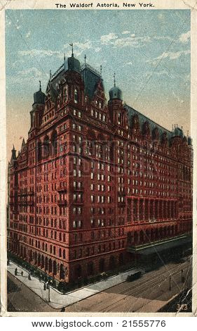 NEW YORK CITY – CIRCA 1912: Vintage postcard depicting The Waldorf Astoria Hotel, built by W.W. Astor, New York City, USA, circa 1912.