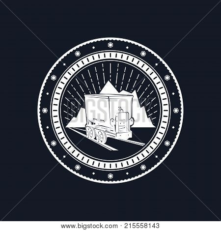 Coal Mine Trolley against Mountains and Sunburst Mine Shaft on a Black Background Emblem of the Mining Industry Vector Illustration