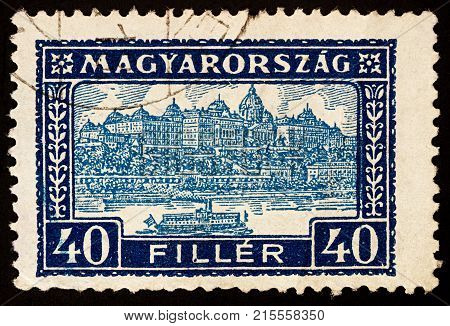 Moscow Russia - November 26 2017: A stamp printed in Hungary shows Buda Castle Royal Palace residence of the Hungarian kings in Budapest Hungary series