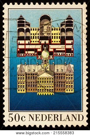 Moscow Russia - November 25 2017: A stamp printed in Netherlands shows The Royal Palace in Amsterdam circa 1982