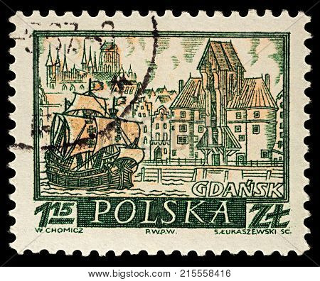Moscow Russia - November 26 2017: A stamp printed in Poland shows old Polish city Gdansk series