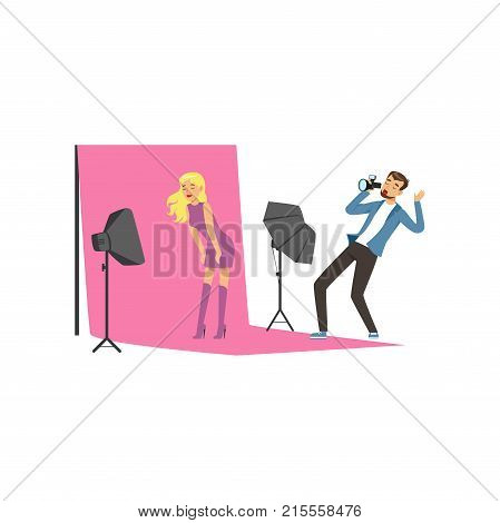 Pretty young model posing on pink backdrop. Man photographer taking pictures with professional digital camera. Active shooting process in photo studio. Cartoon characters. Flat vector illustration.