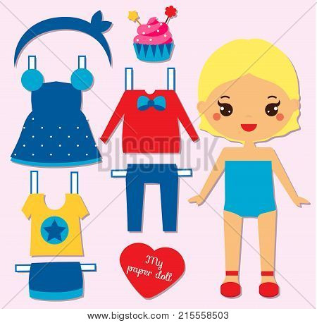 Cute girl paper doll for kids children. Dress up the doll game