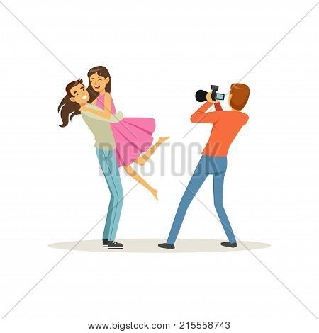Romantic young couple, guy holding girl in his arms for photo shoot. Professional man photographer using digital camera for taking picture. Cartoon people characters. Isolated flat vector illustration