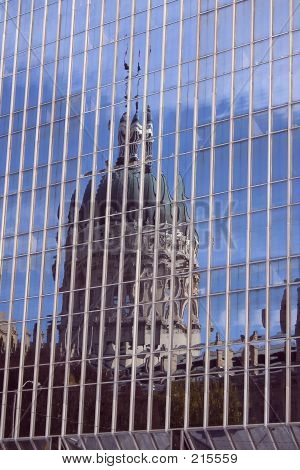 Reflection Of State Capitol Building In Indianapolis, Indiana.