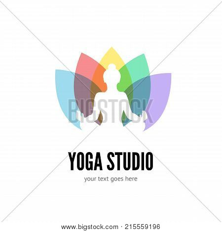 Yoga studio logo template design. Flat vector emblem with woman silhouette and colorful lotus flower isolated on white background