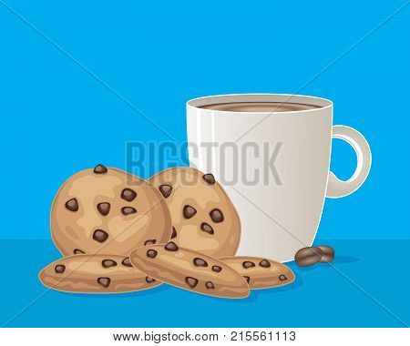an illustration of a white mug of coffee with chocolate chip cookies on a turquoise background