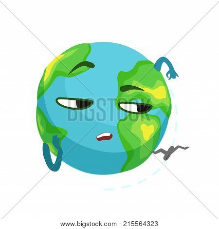 Funny boring Earth planet character and airplane flying around it, cute globe with face and hands vector Illustration on a white background