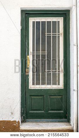 Green wooden door with glass. Back door to the house