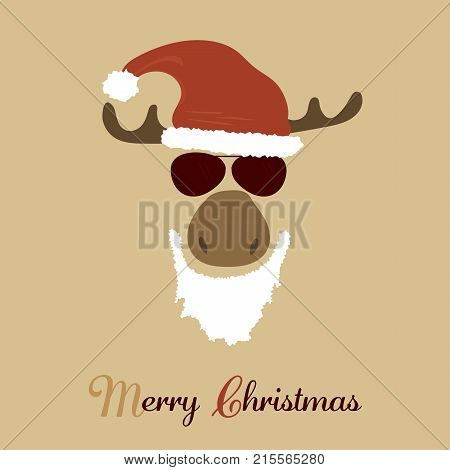 Christmas time. Reindeer with sunglasses, christmas hat Text : Merry Christmas