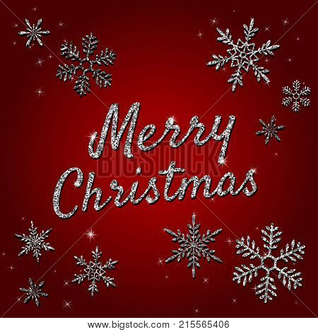 Merry Christmas holiday vector banner with silver glittering snowflakes, lights sparkles on red background. Xmas greeting card with typographical text, shiny letters. Merry Christmas lettering. Christmas card. Merry Christmas banner.