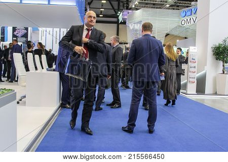 St. Petersburg, Russia - 3 October, Business people on the forum, 3 October, 2017. Participants and visitors of the annual St. Petersburg Gas Forum.