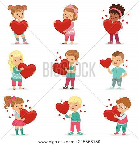 Set of cute kids characters with paper red hearts in hands. Adorable toddlers. Cute cartoon illustration of boys and girls. Children for Valentine s Day cards, poster or print. Flat vector on white.