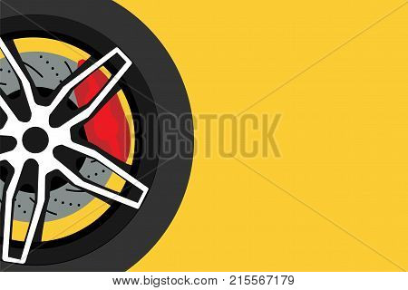 Black racing wheel with disk brake and red caliper on yellow background with copy space. Automotive parts concept. Vector illustrator design. EPS10