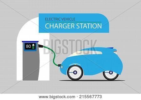 Vehicle electric charging station and a blue electric car. Electric energy vehicle concept.  Vector illustration design. EPS10