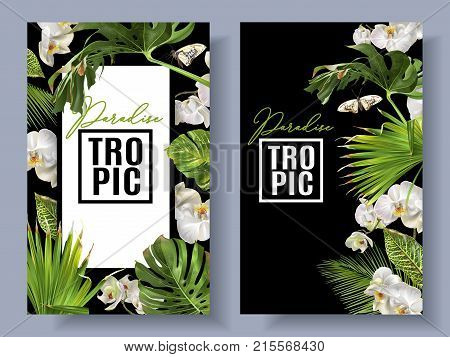 Vector botanical vertical banners with tropical leaves, orchid flowers and butterflies on black. Design for cosmetics, spa, health care products, travel company. Can be used as summer background