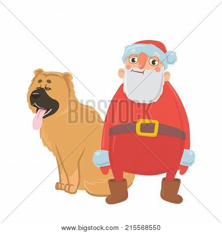 Cartoon Santa Claus and a dog. Characters for new year's cards for year of the dog according to the Eastern calendar. Vector Illustration, isolated on white background.