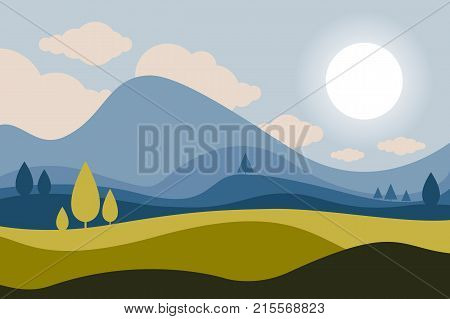 Mountain landscape. Trees in the foreground. Coniferous forest. Sky with clouds. Summer, spring nature. Travel, outdoor activities, outdoor sports, vacation. Flat style.