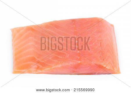 Two slices of red fish with rosemary on a white background. Closeup. on a white
