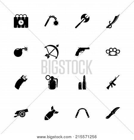 Weapon icons - Expand to any size - Change to any colour. Flat Vector Icons - Black Illustration on White Background.