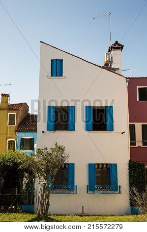 Colorful houses in Burano island near Venice Italy